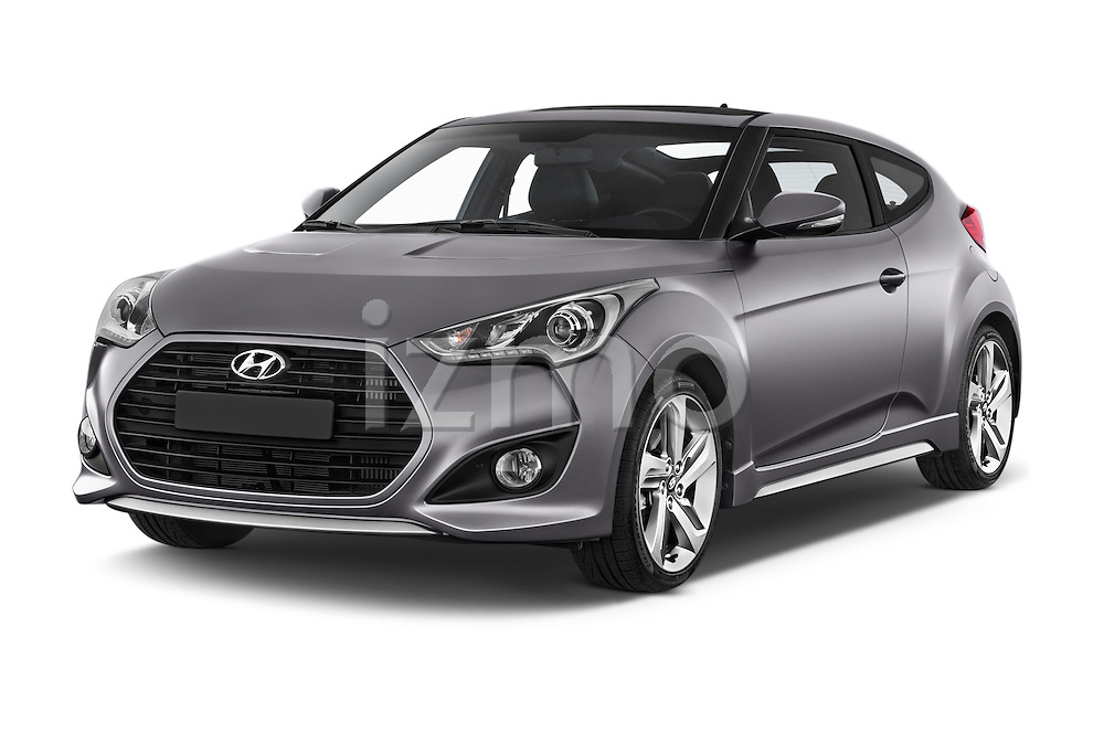 2015 Hyundai Veloster Turbo 3 Door Hatchback Angular Front stock photos of front three quarter view