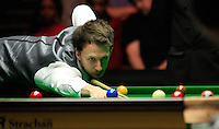 Judd Trump plays a shot during the Dafabet Masters Quarter Final 2 match between Judd Trump and Neil Robertson at Alexandra Palace, London, England on 15 January 2016. Photo by Liam Smith / PRiME Media Images.