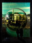 city, river, shadow, bubble, Turkey, tourist, tower, sky, mountain, illustration, fantasy, float, dome, vertical, vertical format