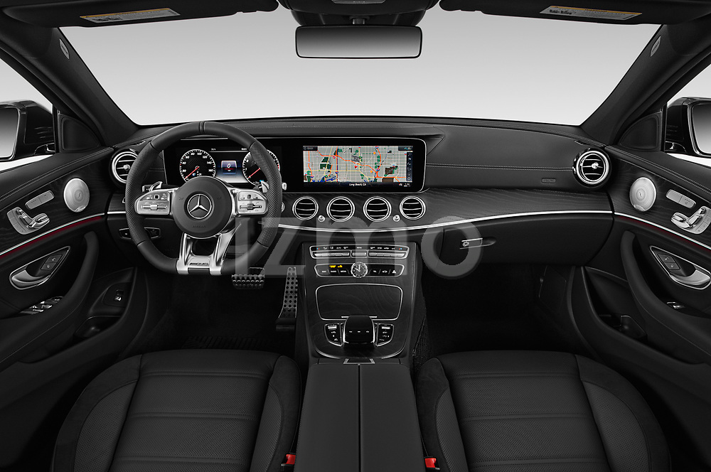 Stock photo of straight dashboard view of 2019 Mercedes Benz E-Class AMG-E53 4 Door Sedan Dashboard