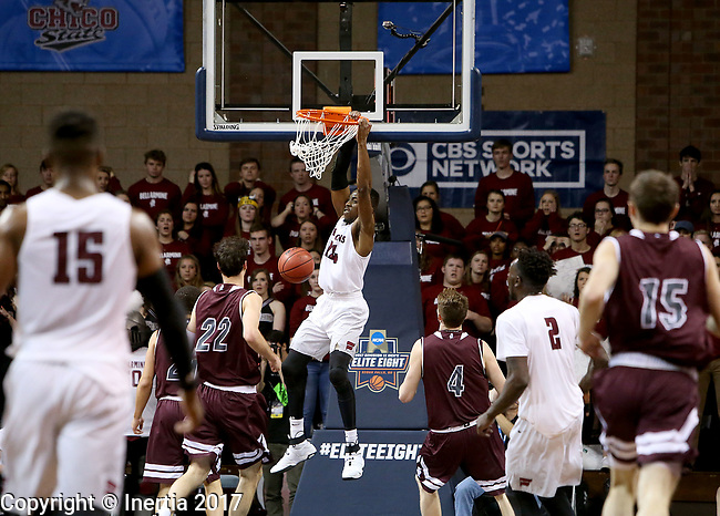 SIOUX FALLS, SD: MARCH 23: D'Ondre Stockman #14 from Fairmont State slams home two points against Bellarmine during the Men's Division II Basketball Championship Tournament on March 23, 2017 at the Sanford Pentagon in Sioux Falls, SD. (Photo by Dave Eggen/Inertia)