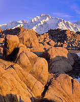 Alabama Hills sunrise with Lone Pine Peak and Mt. Whitney, California