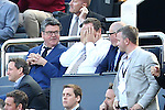 Newcastle owner Mike Ashley can't bear to watch during the Barclays Premier League match at St James' Park. Photo credit should read: Philip Oldham/Sportimage