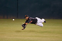 San Jose Giants center fielder Heliot Ramos (13) dives for a ball during a California League game against the Visalia Rawhide on April 12, 2019 at San Jose Municipal Stadium in San Jose, California. Visalia defeated San Jose 6-2. (Zachary Lucy/Four Seam Images)