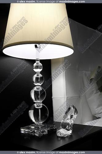 Crystal shoe under a night lamp Bedroom interior design