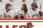 Makenna Newkirk (BC - 19), Alex Carpenter (BC - 5), Kristyn Capizzano (BC - 7) - The Boston College Eagles defeated the visiting UConn Huskies 4-0 on Friday, October 30, 2015, at Kelley Rink in Conte Forum in Chestnut Hill, Massachusetts.