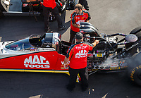Aug 19, 2017; Brainerd, MN, USA; Crew members for NHRA top fuel driver Doug Kalitta during qualifying for the Lucas Oil Nationals at Brainerd International Raceway. Mandatory Credit: Mark J. Rebilas-USA TODAY Sports