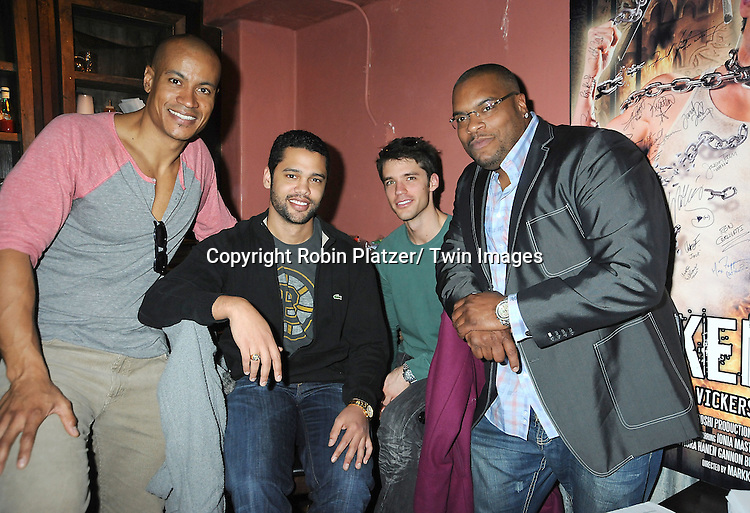 Max Tapper, Barret Helms, David Gregory and Sean Ringgold attend The One Life To Live Benefit for The Amber Roach Memorial Garden on January 7, 2012 at Brother .Jimmy's Union Square Restaurant in New York City.