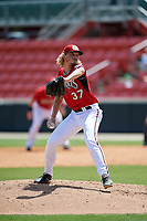 Carolina Mudcats pitcher Phil Bickford (37) during a Carolina League game against the Winston-Salem Dash on August 14, 2019 at Five County Stadium in Zebulon, North Carolina.  Winston-Salem defeated Carolina 4-2.  (Mike Janes/Four Seam Images)