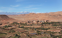 Ighnda Village with Atlas mountains in the distance, Ounila Valley,  Ouarzazate province, Morocco. Picture by Manuel Cohen