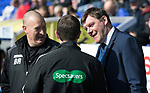 Inverness Caley v St Johnstone&hellip;08.04.17     SPFL    Tulloch Stadium<br />Brian Rice and Tommy Wright have a laugh with 4th official Alan Muir<br />Picture by Graeme Hart.<br />Copyright Perthshire Picture Agency<br />Tel: 01738 623350  Mobile: 07990 594431