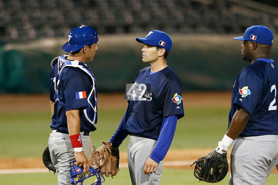 20 September 2012: Starting pitcher Patrice Briones talks to catch Boris Marche during Spain 8-0 win over France, at the 2012 World Baseball Classic Qualifier round, in Jupiter, Florida, USA.