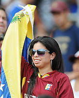 Fan from Venezuela supporting the team.  El Salvador National Team defeated Venezuela 3-2 in an international friendly at RFK Stadium, Sunday August 7, 2011.