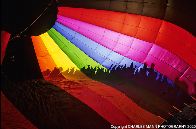 The silhouettes of visitors are etched onto the colorful interior of an inflating hot air balloon during the morning launch at the Albuquerque International Hot Air Balloon Fiesta in New Mexico in October