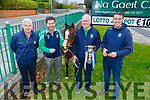 Michael Herlihy, Eamonn Browne with Beauty the horse, Eddie Sheehy and Mike O'Brien help Na Gaeil launch their Race Night at the club on Saturday.