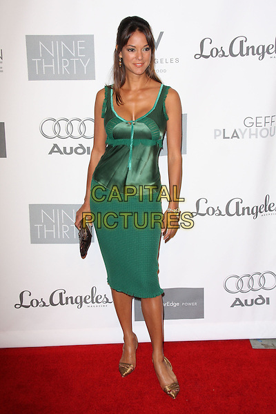 EVA LA RUE .7th Annual Backstage At The Geffen Gala held at the Geffen Playhouse, Los Angeles, California, USA..March 9th, 2009.full length larue green dress pointy bronze shoes gold clutch bag top silk satin pattern skirt cleavage .CAP/ADM/KB.©Kevan Brooks/AdMedia/Capital Pictures.