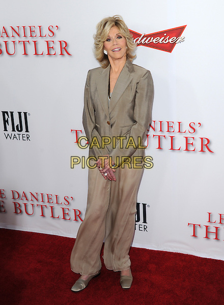 Jane Fonda<br /> &quot;Lee Daniels' The Butler&quot; Los Angeles Premiere held at Regal Cinemas L.A. Live, Los Angeles, California, USA.        <br /> August 12th, 2013    <br /> full length beige blazer trousers wide leg flared <br /> CAP/DVS<br /> &copy;DVS/Capital Pictures