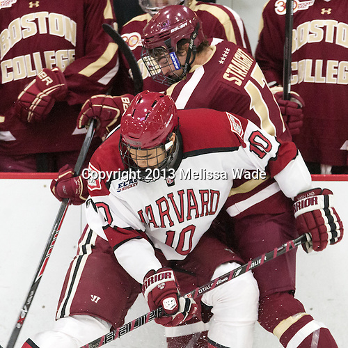 Brayden Jaw (Harvard - 10), Destry Straight (BC - 17) - The visiting Boston College Eagles defeated the Harvard University Crimson 5-1 on Wednesday, November 20, 2013, at Bright-Landry Hockey Center in Cambridge, Massachusetts.