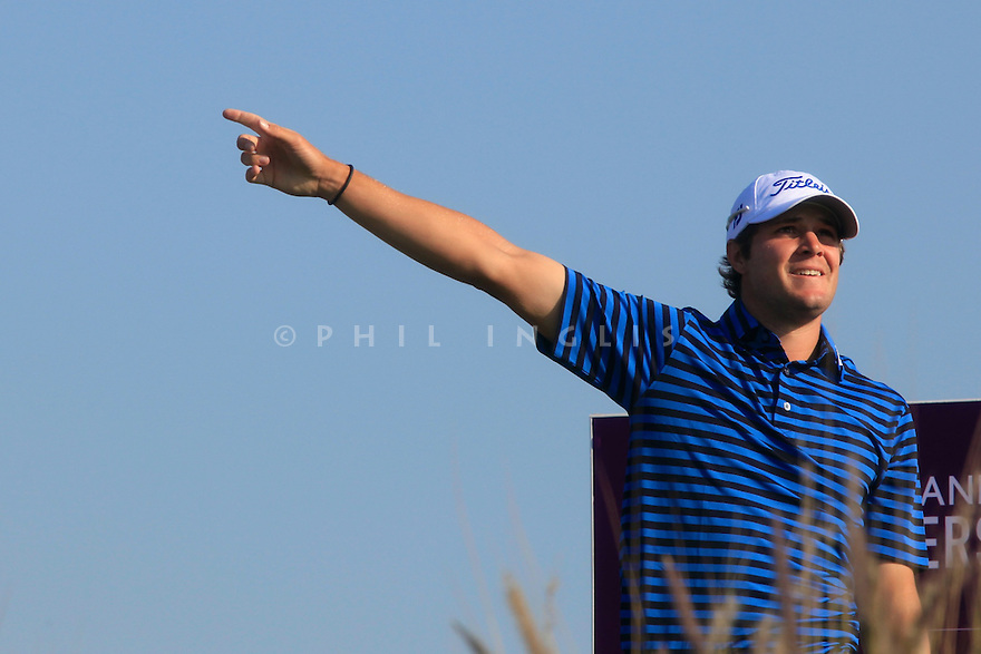 Peter Uihlein (USA) in action during the second round of the Commercial Bank Qatar Masters played at Doha Golf Club, Doha, Qatar. 22 - 25th January 2014 (Picture Credit / Phil Inglis)