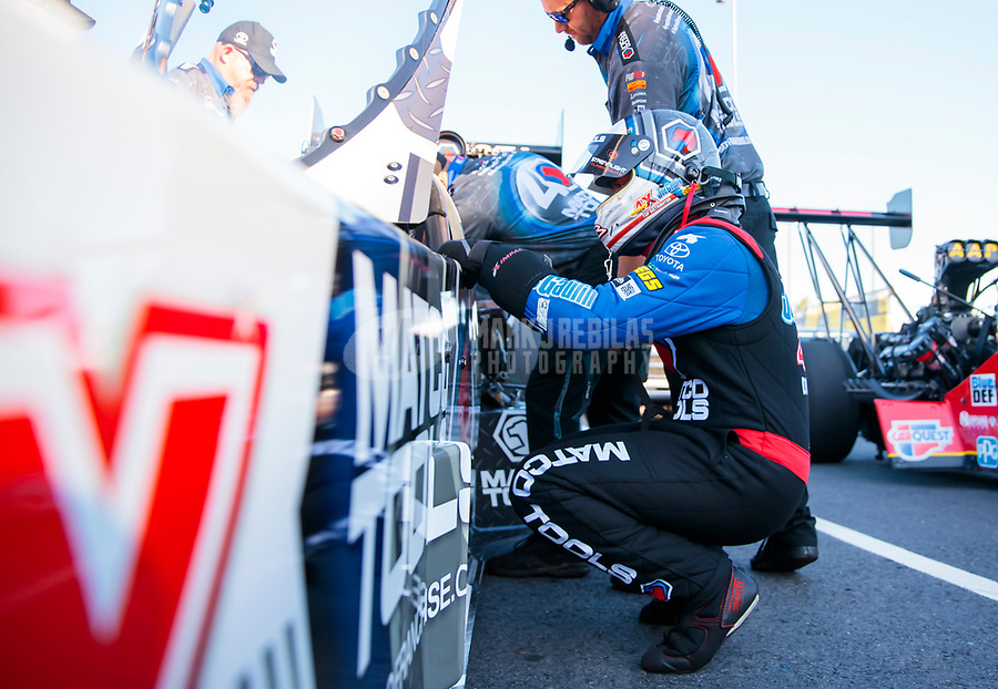 Oct 14, 2019; Concord, NC, USA; NHRA top fuel driver Antron Brown during the Carolina Nationals at zMax Dragway. Mandatory Credit: Mark J. Rebilas-USA TODAY Sports