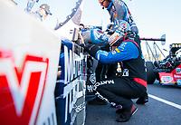 Oct 14, 2019; Concord, NC, USA; NHRA top fuel driver Antron Brown during the Carolina Nationals at zMax Dragway. Mandatory Credit: Mark J. Rebilas-USA TODAY Sports