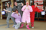 Pix: Shaun Flannery/shaunflanneryphotography.com...COPYRIGHT PICTURE>>SHAUN FLANNERY>01302-570814>>07778315553>>..19th March 2011...............Lakeside Village, Doncaster..Comic Relief Event..L-R Clare Thompson, Sarah Burns, Todd Booth, Ricky Panks, Laura Calvert of Bench.