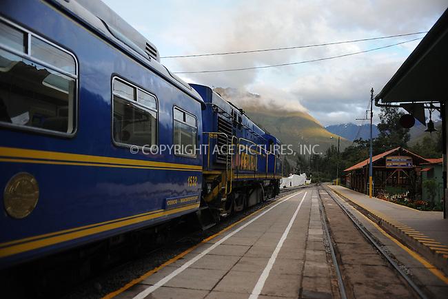 WWW.ACEPIXS.COM . . . . . .January 8, 2013...Peru...Peru Rail train in Ollantaytambo to the Inca ancient city of Machu Picchu on January 8, 2013 in Peru ....Please byline: KRISTIN CALLAHAN - ACEPIXS.COM.. . . . . . ..Ace Pictures, Inc: ..tel: (212) 243 8787 or 212 489 0521..e-mail: kristincallahan@aol.com...web: http://www.acepixs.com .