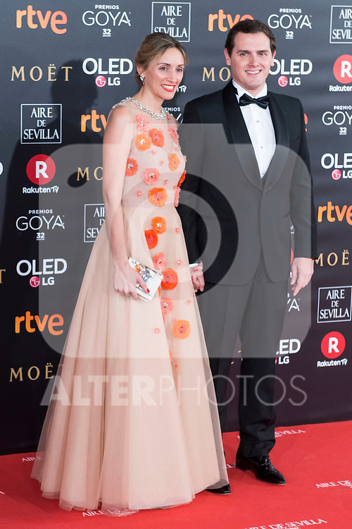 Beatriz Tajuelo and Alberto Rivera attends red carpet of Goya Cinema Awards 2018 at Madrid Marriott Auditorium in Madrid , Spain. February 03, 2018. (ALTERPHOTOS/Borja B.Hojas)