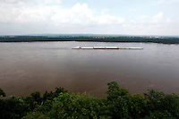 View of a barge chuging down the Mississippi River from the lookout point at Trail of Tears state park in Jackson, Missouri on May 31, 2010.