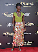 LOS ANGELES, CA. April 4, 2016. Actress Lupita Nyong'o at the world premiere of &quot;The Jungle Book&quot; at the El Capitan Theatre, Hollywood.<br /> Picture: Paul Smith / Featureflash