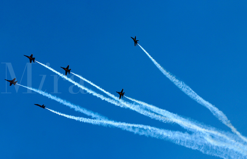The Blue Angels FA 18s silhouetted breaking formation with trails of white smoke against a clear blue sky