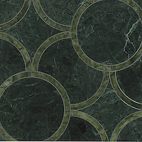 Montgomery Medium, a stone water jet mosaic, shown in Verde Alpi and Chartreuse, is part of the Ann Sacks Beau Monde collection sold exclusively at www.annsacks.com