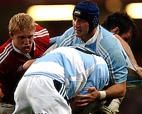 2005 British & Irish Lions vs Argentina, at The Millennium Stadium, Cardiff, WALES played on  23.05.2005, No 8 Juan Manuel Leguizamon hold's the ball up..Photo  Peter Spurrier. .email images@intersport-images...
