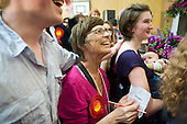 Supporters cheer as Labour MP Glenda Jackson holds the marginal seat of Hampstead and Kilburn by 42 votes in the 2010 General Election.