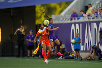 Orlando, FL - Thursday June 23, 2016: Poliana Barbosa, Samantha Witteman during a regular season National Women's Soccer League (NWSL) match between the Orlando Pride and the Houston Dash at Camping World Stadium.
