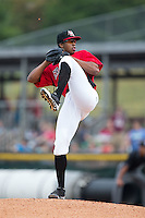 Hickory Crawdads starting pitcher Dillon Tate (38) in action against the West Virginia Power at L.P. Frans Stadium on August 15, 2015 in Hickory, North Carolina.  The Power defeated the Crawdads 9-0.  (Brian Westerholt/Four Seam Images)
