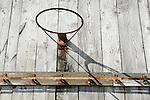 Adams Farm. Old basketball hoop on barn.