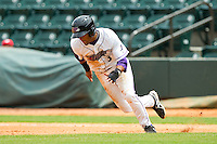Micah Johnson (3) of the Winston-Salem Dash takes off for second base against the Myrtle Beach Pelicans at BB&T Ballpark on July 7, 2013 in Winston-Salem, North Carolina.  The Pelicans defeated the Dash 4-2 in game one of a double-header.  (Brian Westerholt/Four Seam Images)