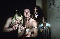 Venom backstage at The Metro in Chicago, Illinois. <br /> March, 30th, 1986 <br /> CAP/MPI/GA<br /> &copy;GA/MPI/Capital Pictures