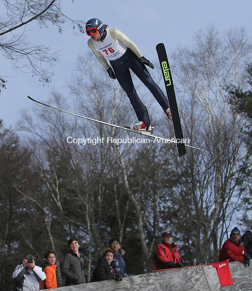 Salisbury, CT-020814MK01 Tyler Smith soars down the hill during The Salisbury Invitational Competition on Saturday afternoon at Satre Hill in Salisbury.  Smith won the event with an overall score of 222.2. The Eastern U.S. Ski Jumping Championships begin today at 1 p.m.   Michael Kabelka / Republican-American