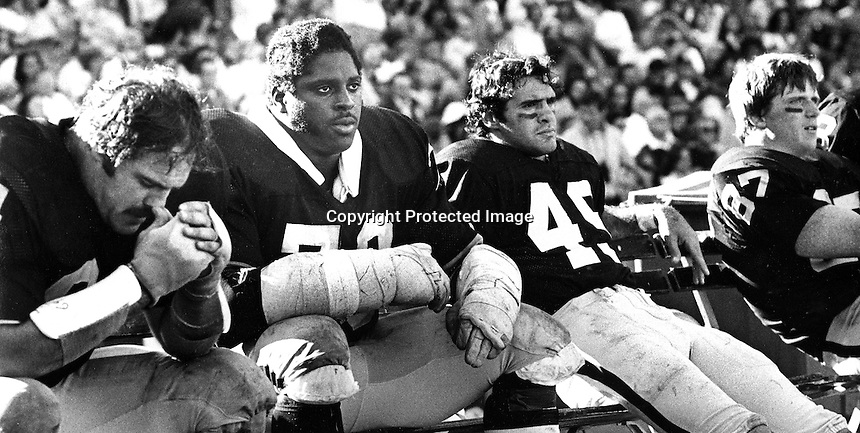Oakland Raiders warriors on the bench,from the left are: George Buehler, Henry Lawarence, Mike Siani, and Dave Casper. (1977 Photo by Ron Riesterer)