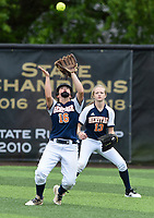 NWA Democrat-Gazette/CHARLIE KAIJO Rogers Heritage High School Kyliee Germann (16) makes a catch during the 6A State Softball Tournament, Thursday, May 9, 2019 at Tiger Athletic Complex at Bentonville High School in Bentonville. Rogers Heritage High School lost to Northside High School 8-6