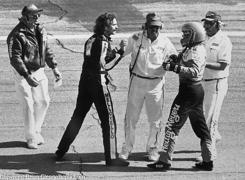 Winston Cup officials try to break up a fight between Kyle Petty and Bobby Hillin Jr., after a crash on the front straightaway during the Daytona 500, Daytona International Speedway, Daytona Beach, FL, February 14, 1993.  (Photo by Brian Cleary/www.bcpix.com)