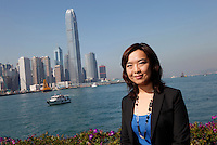 HONG KONG - DECEMBER 28: Portrait of Helen Ye poses in front of Hong Kong Victoria Harbour. ([Photo by Timothy O'Rourke)