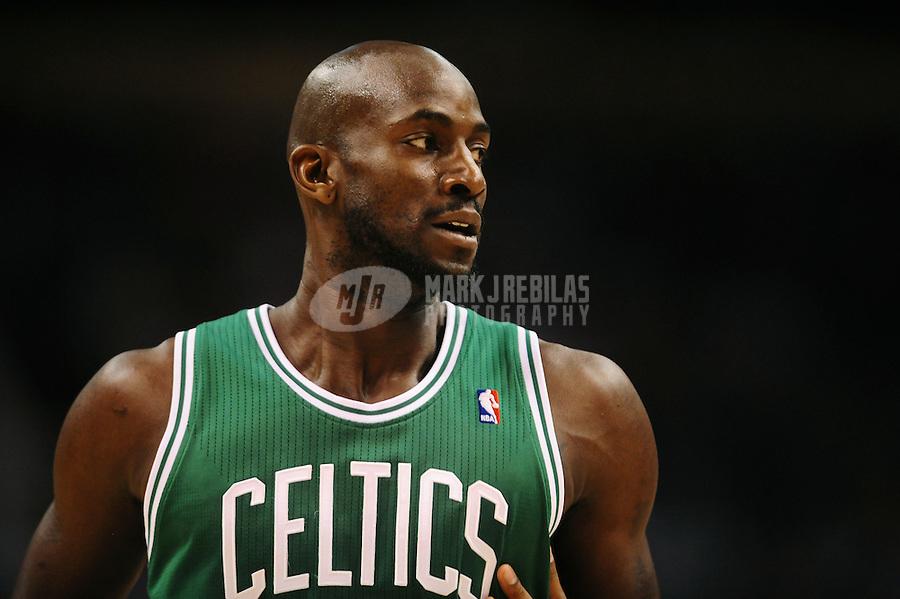 Jan. 28, 2011; Phoenix, AZ, USA; Boston Celtics forward (5) Kevin Garnett against the Phoenix Suns at the US Airways Center. Mandatory Credit: Mark J. Rebilas-