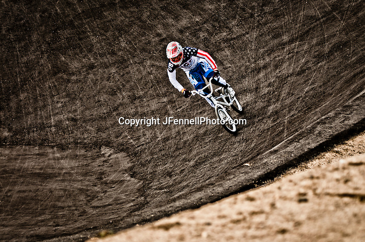 Connor Fields practicing at the London Replica BMX track at the US Olympic Training Center in Chula Vista, CA