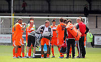 Pictured: Swansea manager Brendan Rodgers (in white and grey) talks to his players. Saturday 17 July 2011<br /> Re: Pre season friendly, Neath Football Club v Swansea City FC at the Gnoll ground, Neath, south Wales.