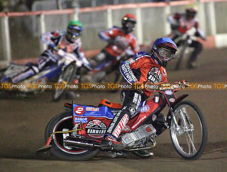 Heat 1 - Paul Hurry (blue) ahead of Simon Stead (green), Joonas Kylmakorpi and Ryan Fisher - Lakeside Hammers vs Belle Vue Aces - Sky Sports Elite League 'A' at Arena Essex, Purfleet - 23/03/07 - MANDATORY CREDIT: Gavin Ellis/TGSPHOTO