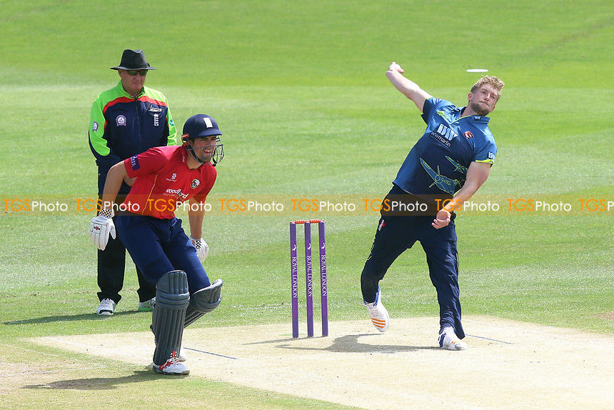 Calum Haggett in bowling action for Kent during Kent Spitfires vs Essex Eagles, Royal London One-Day Cup Cricket at the St Lawrence Ground on 17th May 2017