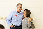 April 6, 2014. Durham, North Carolina.<br />   Thom Tillis, seen here with his wife Susan, is one of eight Republican candidates running for Democrat Kay Hagan's Senate seat.<br /> As the the primary scheduled for May 6th grows near, several of the the eight Republican candidates running for the US Senate seat of incumbent Democrat Kay Hagan have increased their public visibility, appearing at events such as the Durham County Lincoln Douglas Lunch, where each candidate was given a few minutes to address the gathered Republican friendly crowd.